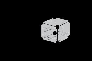 """Fig. 2 - Reticolo cristallino per un generico metallico, con evidenziata la sua """"cella elementare""""."""