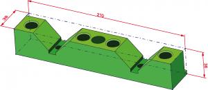 """Fig. 2. Per poter effettuare il calcolo del costo di approvvigionamento del materiale è necessario conoscere la massa del materiale grezzo di partenza (blocco, piastra, tondo, ecc..). Nel caso del componente in figura (un appoggio a V), le quote di 36 mm x 38 mm x 210 mm corrispondono alle dimensioni del grezzo di partenza corrispondenti a una barra trafilata da 40 x 40 mm, che poi viene tagliata alla lunghezza desiderata (in questo caso 210 mm). In molti sistemi vengono calcolate le dimensioni di massimo ingombro del componente, con l'indicazione delle quote del grezzo di partenza. La tabella riporta il calcolo delle 2 variabili """"Volume Grezzo"""" e """"Massa Grezzo"""" (pari al """"Volume Grezzo"""" moltiplicato per la densità del materiale, fornita dal CAD)."""
